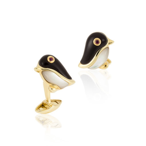 18k Yellow Gold Penguin Cufflinks with Onyx,Mother of Pearl and Ruby