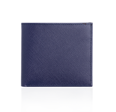 Wallet in Blue Textured Leather with Yellow Interior