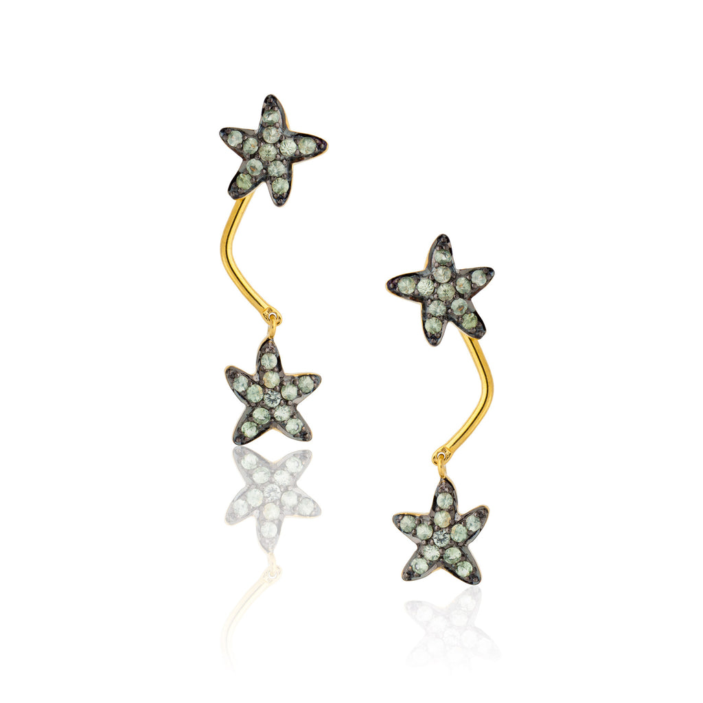 925 Silver Starfish Double Earrings