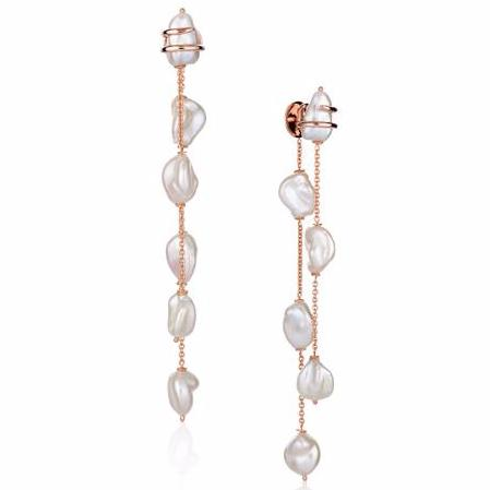 18k Rose Gold Earrings with Freshwater Pearls