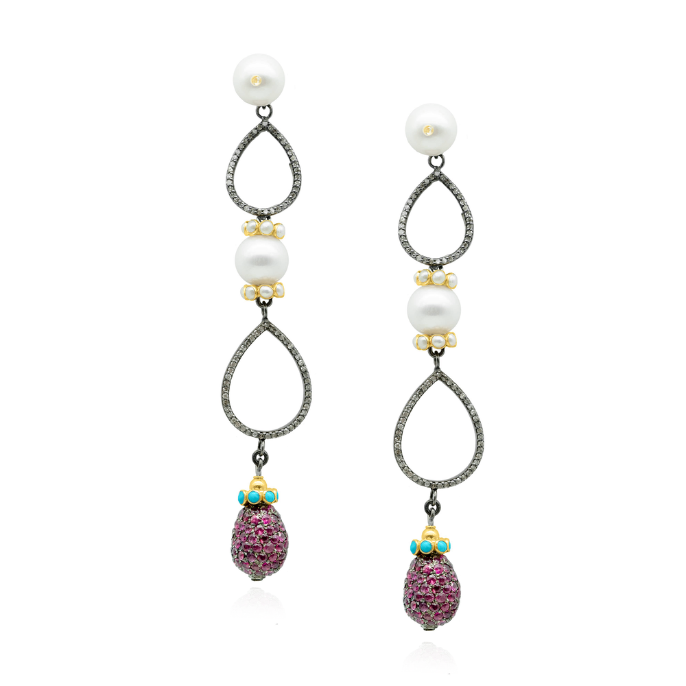 925 Silver Earrings with Freshwater Pearls & Precious Stones