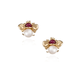 18K Gold Earrings with Tourmaline & Pearls