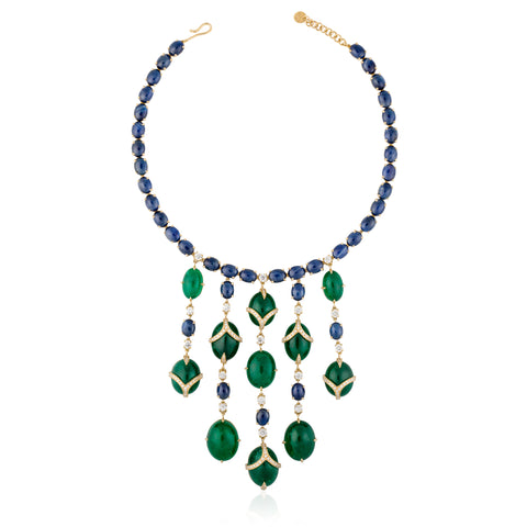 Emerald, Blue Sapphire and Diamond Necklace