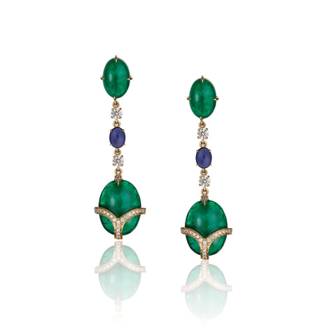 Emerald and Blue Sapphire Cabochon Gold Earrings