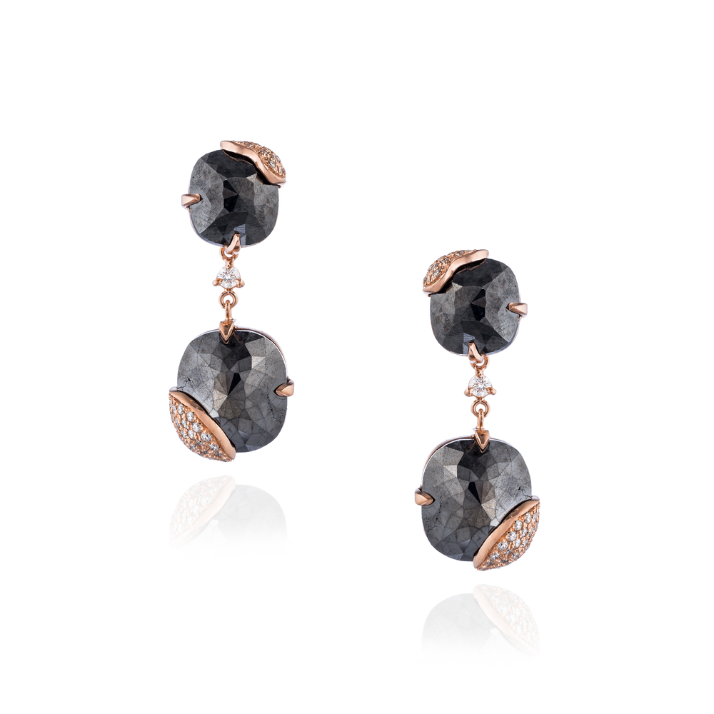 14K Rose Gold Earrings with Black Diamonds