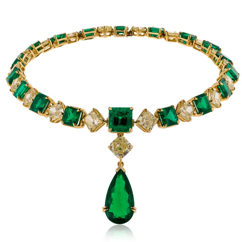 18k Yellow Gold Necklace with Diamonds and Emeralds