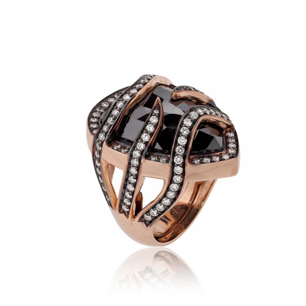 Load image into Gallery viewer, 14k Rose Gold Ring with Large Black Diamond