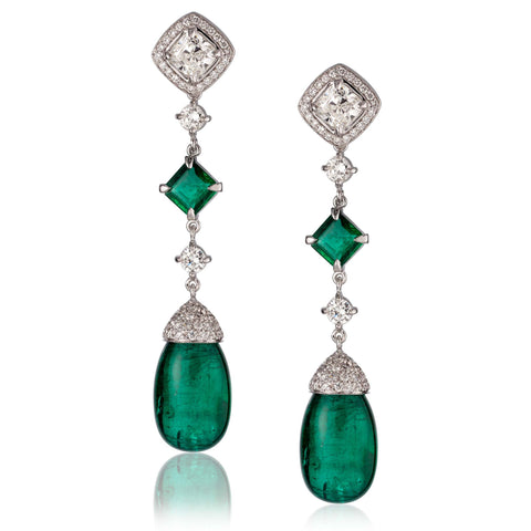 18k White Gold Earrings with Diamond and Emerald