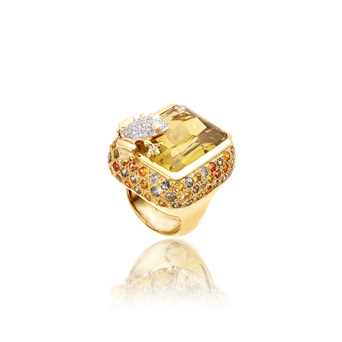 Yellow Gold Citrine Ring with Sapphire