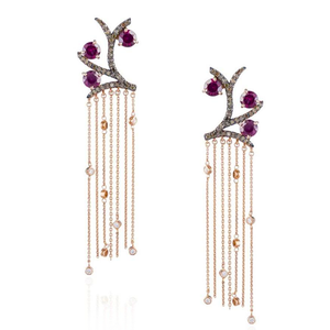 14K Gold Earrings with Rodolite & Cognac Diamonds