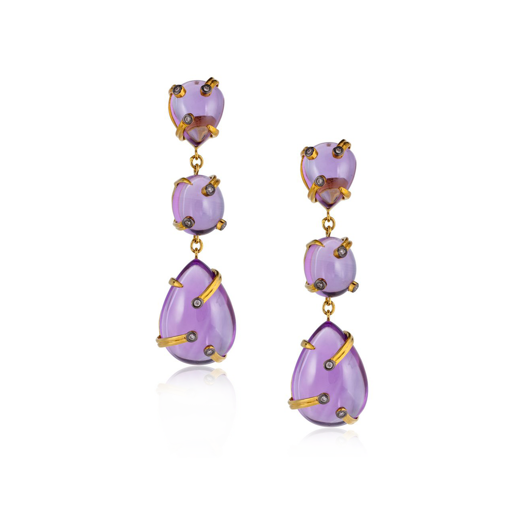 18k Yellow Gold Earrings with Amethyst Cabochons and Diamonds