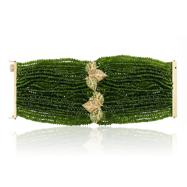18k Yellow Gold Bracelet with Tsavorite and Diamonds