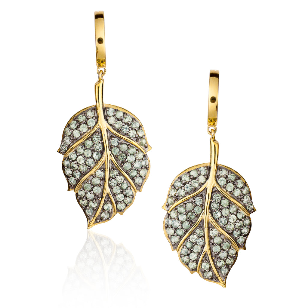 925 Silver Leaf Earrings with Sapphires