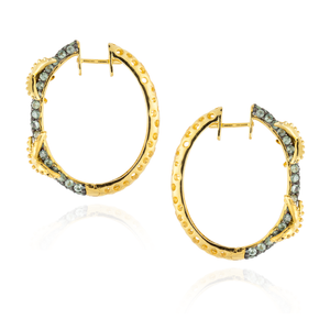 925 Silver Hoop Earrings with Green Sapphire Pavé