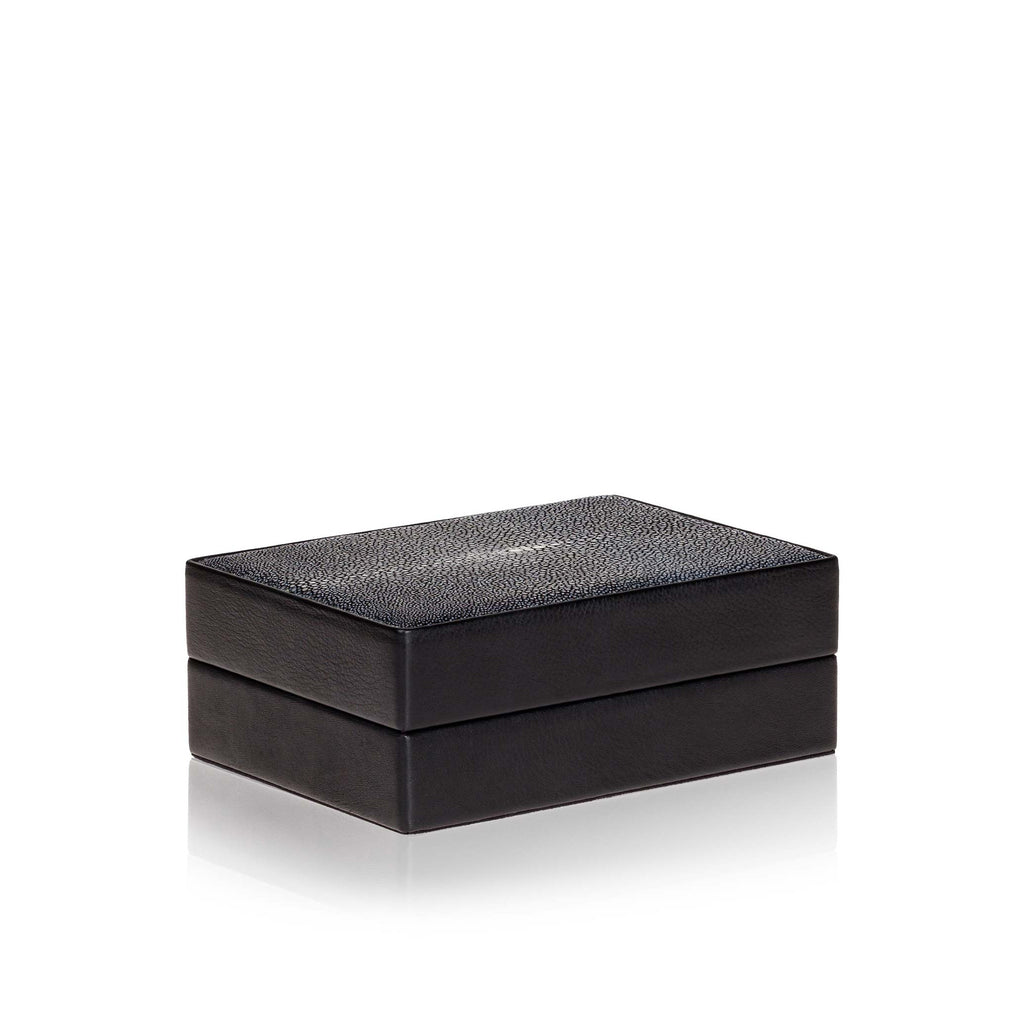Small Black Leather and Stingray Box