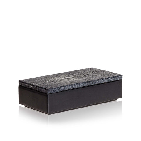 Medium Black Leather and Stingray Box
