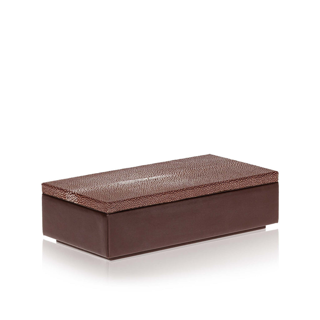 Medium Brown Leather and Stingray Box