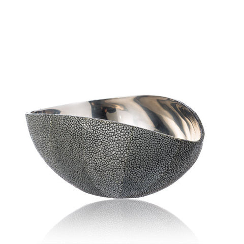 Stainless Steel Bowl in Grey Stingray Leather