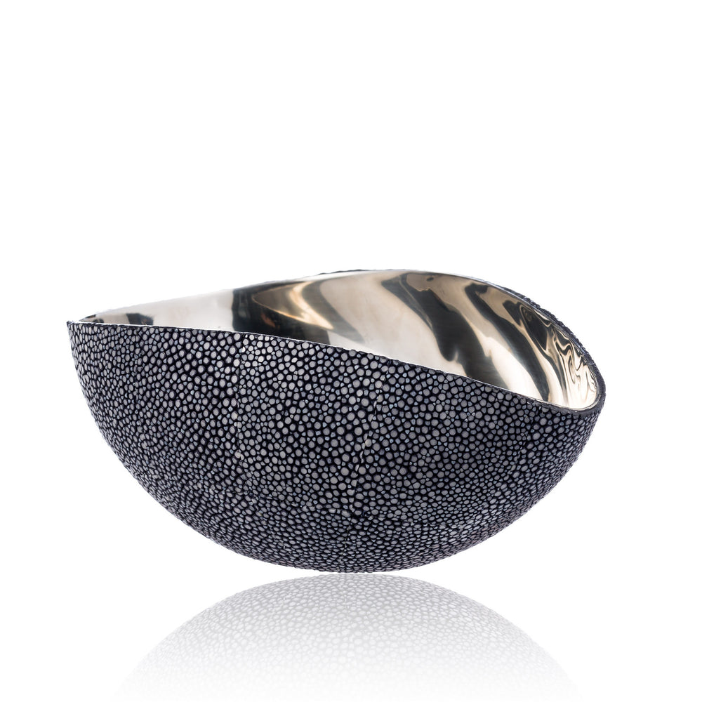 Stainless Steel Bowl in Blue Stingray Leather