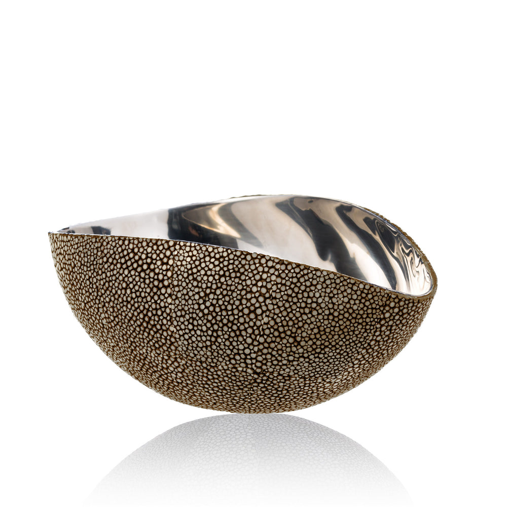 Stainless Steel Bowl in Brown Stingray Leather