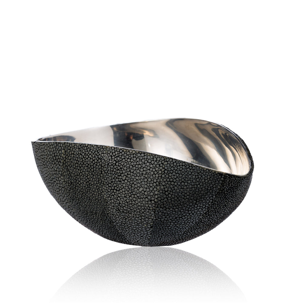 Stainless Steel Bowl in Black Stingray Leather