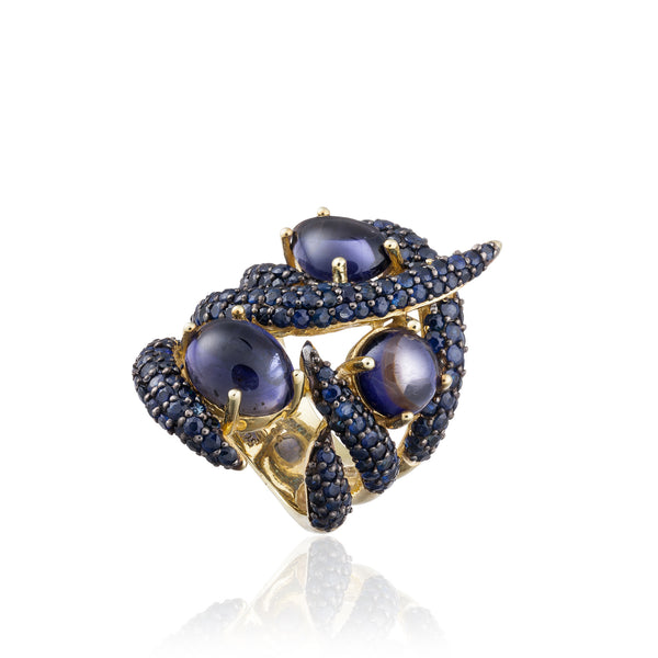 925 Silver Ring with  Iolite and  Sapphires