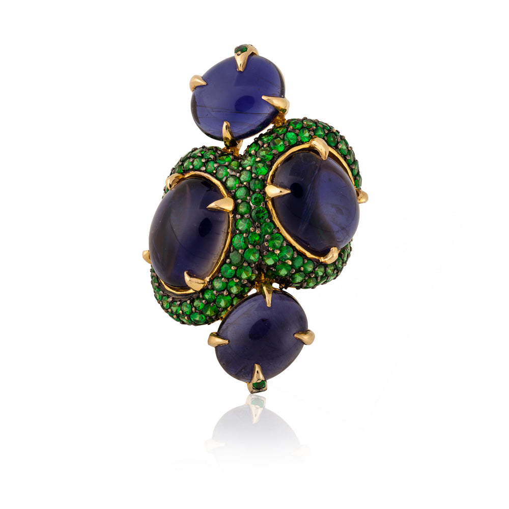 Load image into Gallery viewer, Iolite and Tsavorite Yellow Gold Ring