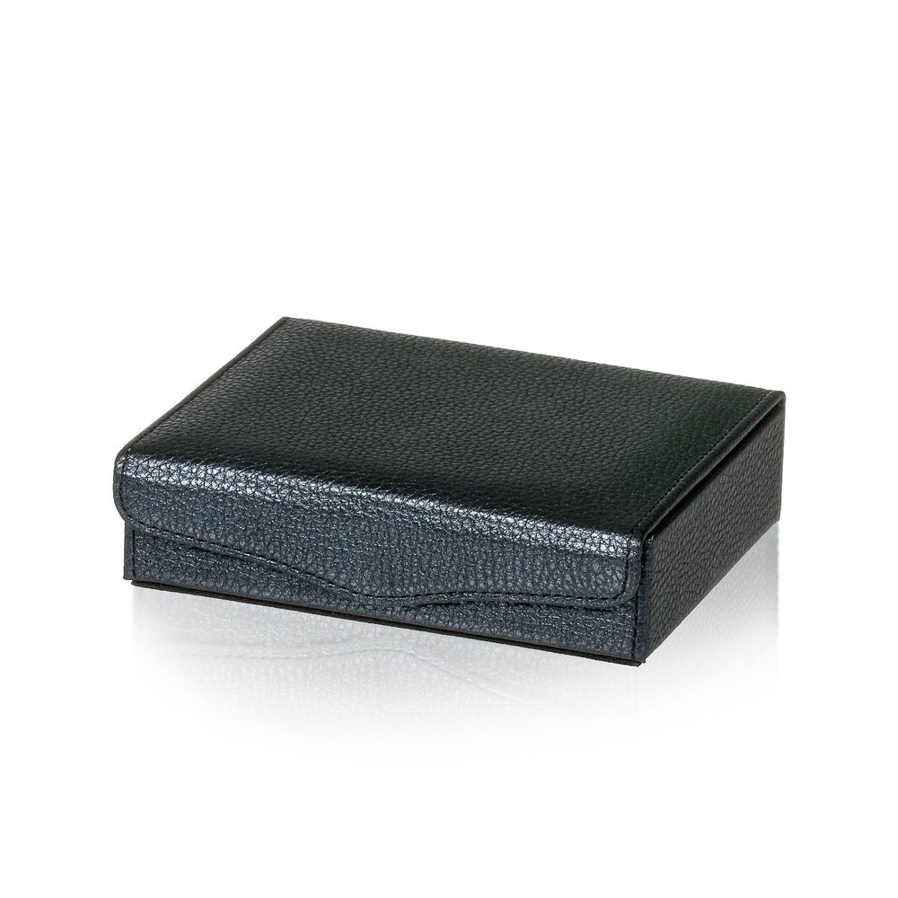 Textured Dark Grey Leather Jewelry & Cufflink Box
