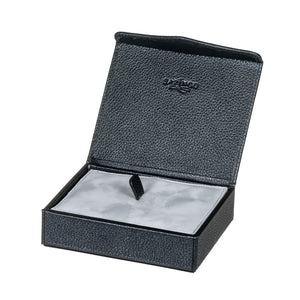 Textured Blue Leather Jewelry & Cufflink Box