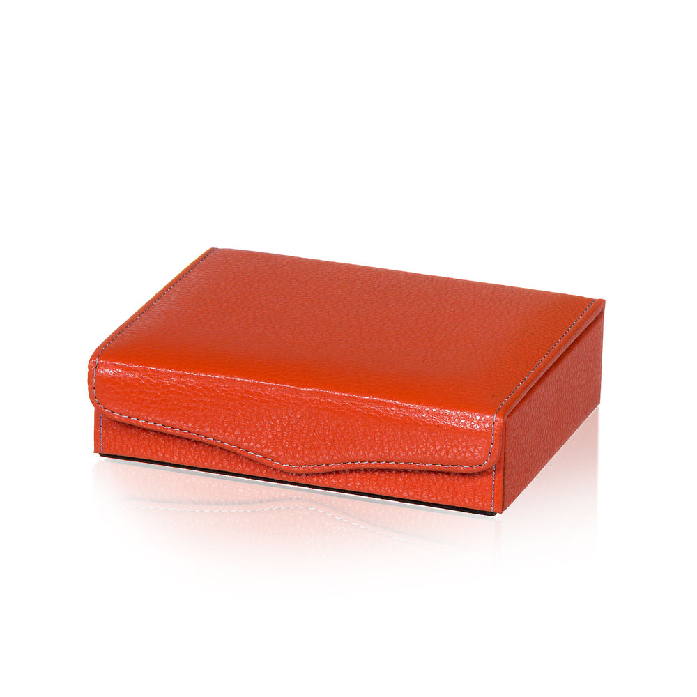 Jewelry Box in Orange Textured Leather