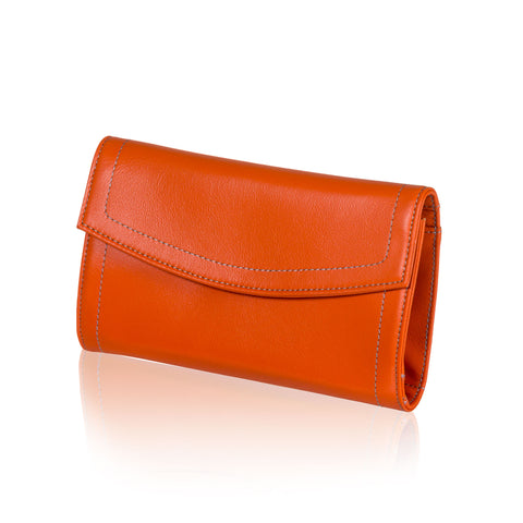 Orange Leather Jewelry Pouch