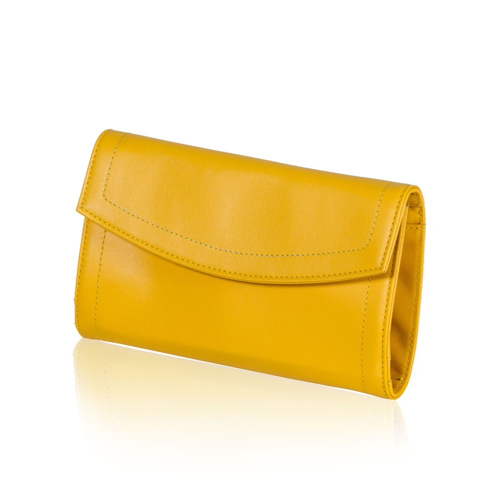 Yellow Leather Jewelry Pouch