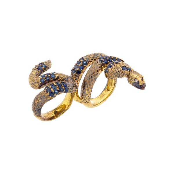 925 Silver Double Finger Snake Ring with Sapphires