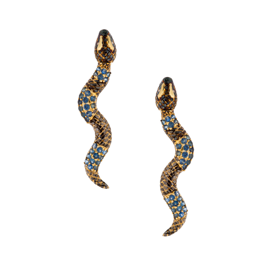 925 Silver Snake Earrings Sapphires