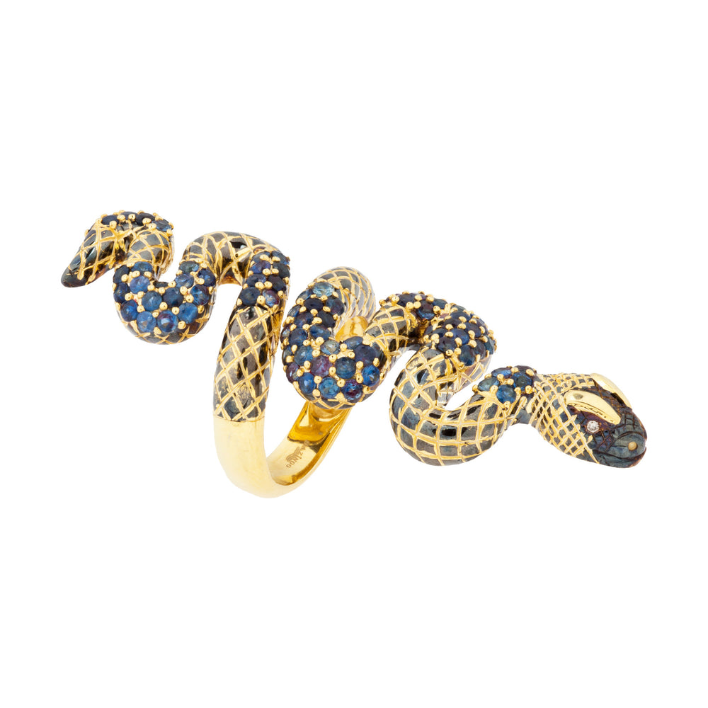 925 Silver Snake Ring with Blue Sapphires