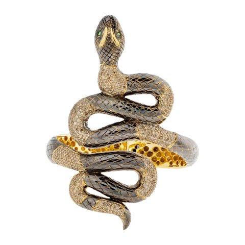 925 Silver Snake Bracelet with Diamonds