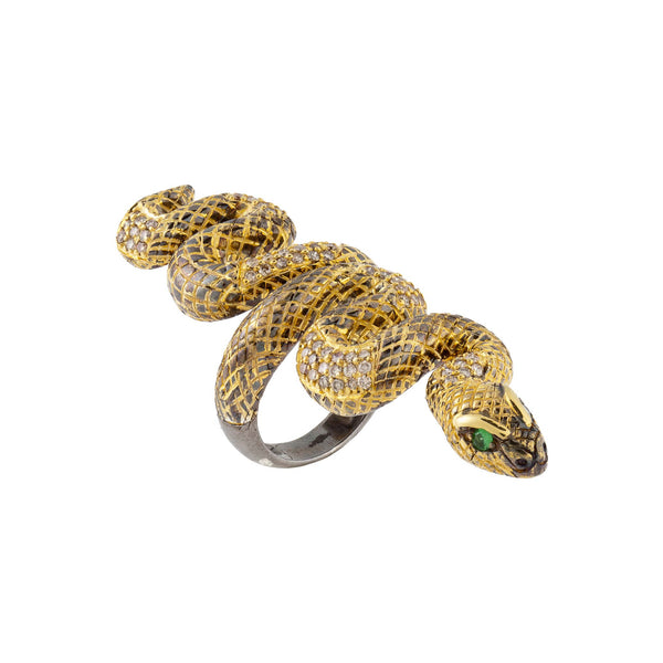 925 Silver Snake Ring Diamonds