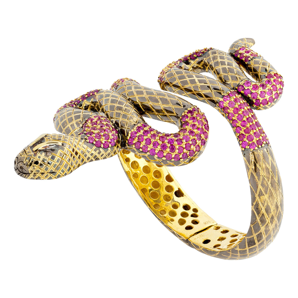 Load image into Gallery viewer, 925 Silver Snake Bracelet with Rubies