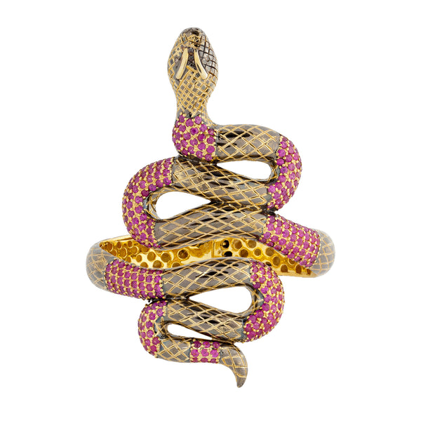 925 Silver Snake Bracelet with Rubies