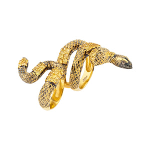 925 Silver Double Finger Snake Ring with Yellow Sapphires