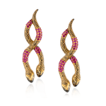 925 Silver Double Snake Earrings with Ruby