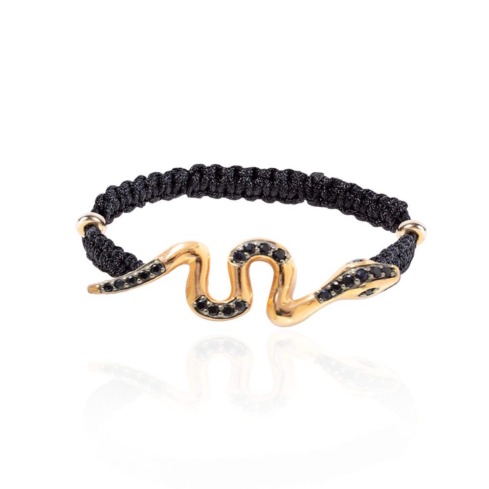 Load image into Gallery viewer, 925 Silver Woven Bracelet with Gold Plated Snake & Black Sapphires