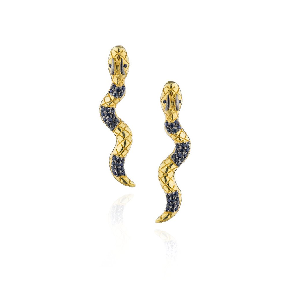 925 Silver Snake Earrings with Blue Sapphires