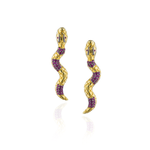 925 Silver Snake Earrings with Rubies