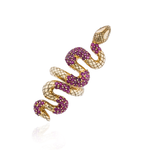 925 Silver Snake Ring with Rubies