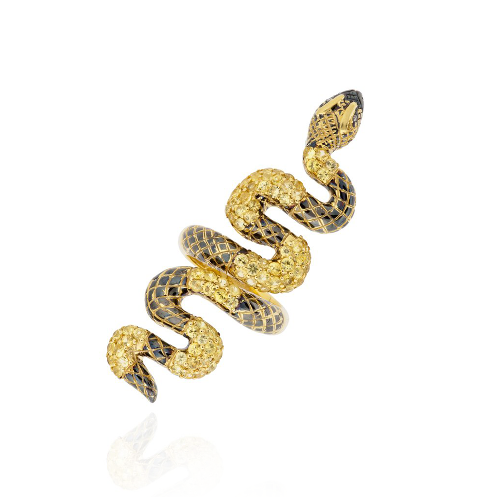 925 Silver Snake Ring with Yellow Sapphires