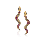 925 Silver Medium Snake Earrings with Ruby