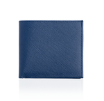 Blue Textured Wallet with Brown Interior