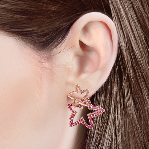 925 Silver Double Starfish Earrings with Sapphires