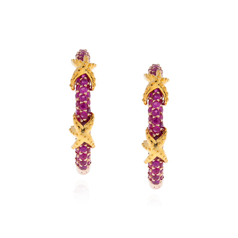 925 Silver Hoop Earrings with Ruby Pavé